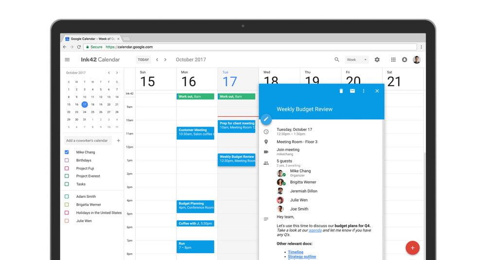 Google Calendar foi completamente redesenhado para a versão web