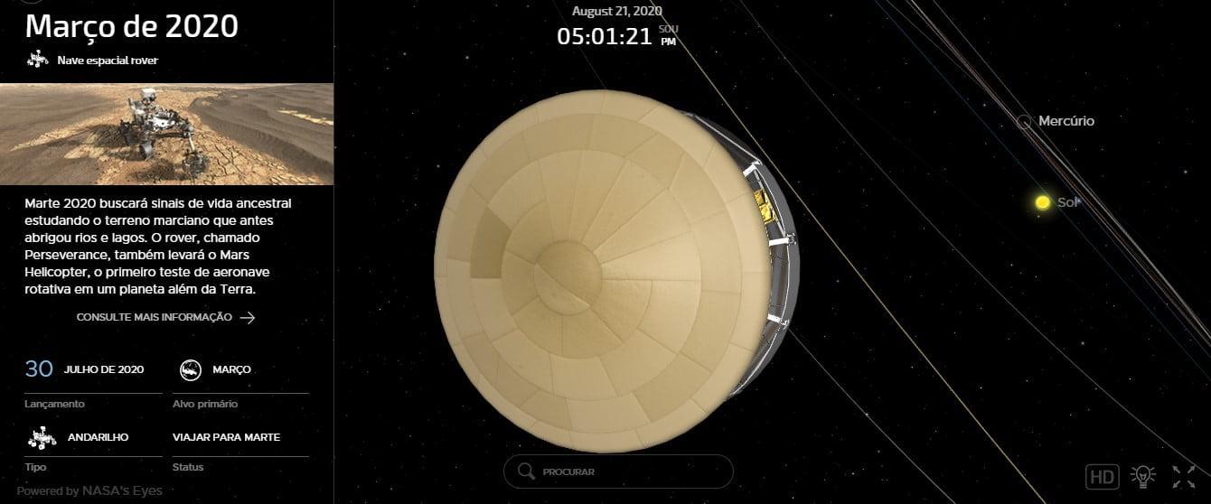 Acompanhe o trajeto da missão Mars 2020
