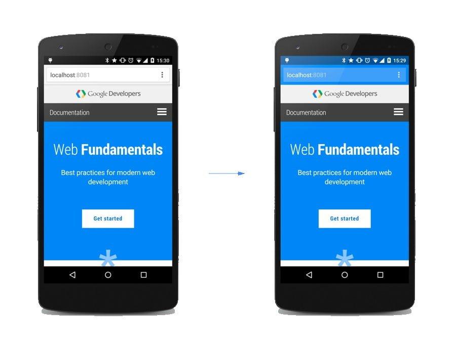 Como alterar a cor da barra de endereços do navegador móvel